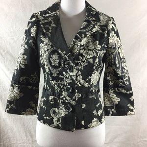 Floral Tapestry Cropped Blazer Black Cream  - WHBM